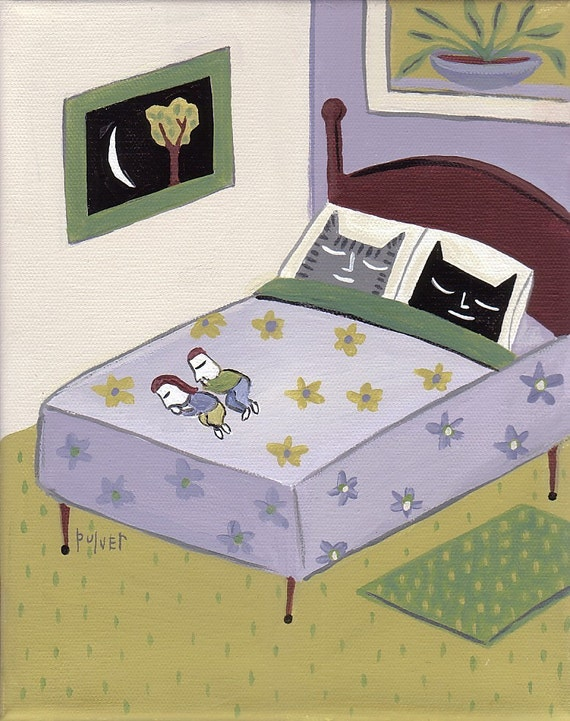 Funny Cat Art Print 8x10 Cats Sleeping in Bed - Green and Purple Folk Art - Grey Tiger Tabby (or Orange) and Black Cat