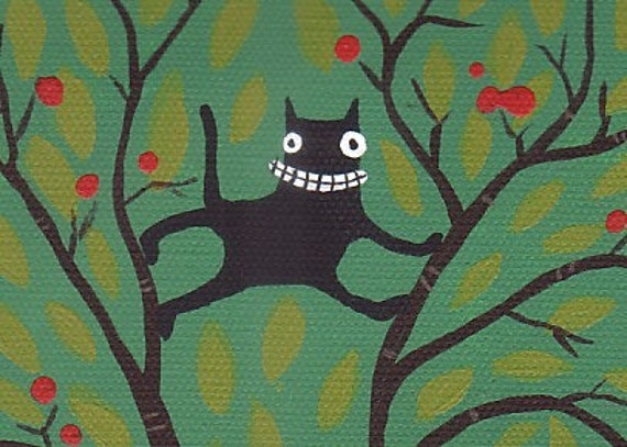 Cat in Tree with Crows Art Print - Whimsical and Funny Bird and Black Cat Folk Artwork - Green, Brown and Red Apple Tree Wall Decor
