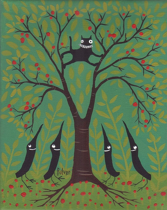 Whimsical Cat n Crow Note Card - Funny Whimsical Black Cat in Tree Art Print Artwork - Birthday Congratulations