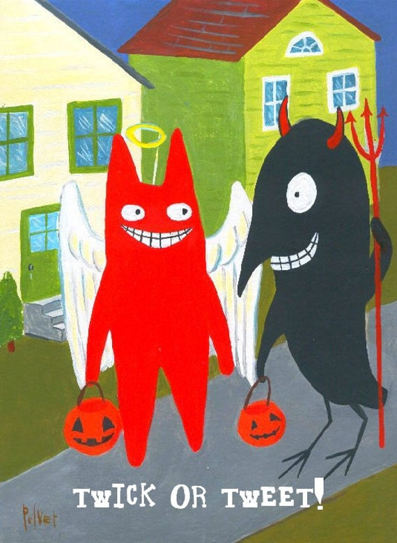 Funny Halloween Card or Small Print. Cat n Crow Dress Up as Angel and Devil