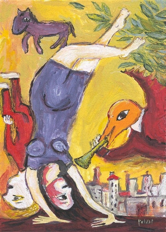 Chagall Inspired ACEO Art Print Acrobat Girl, Bird and Horse with Horn - Trading Card Artwork Illustration