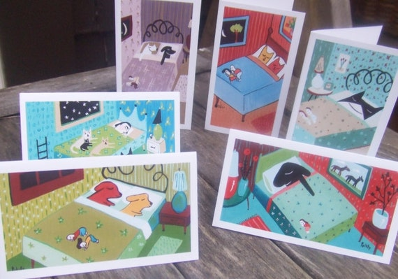 Set of 12 Cat and Dog Thank You/Gift Card Set with Envelopes - Whimsical Pets in Bed Folk Art Animal Business Card Size