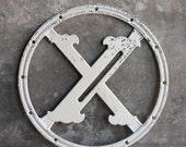 Vintage Salvaged Metal Door Monogram, Letter X