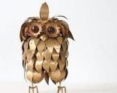 Retro Gold Owl Sculpture - Jere Era