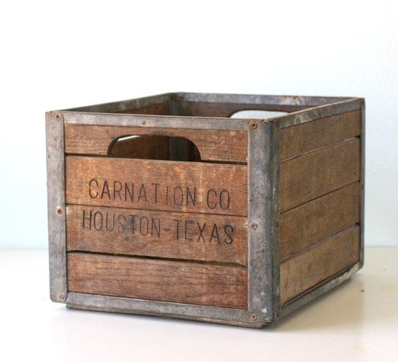 vintage carnation wooden crate
