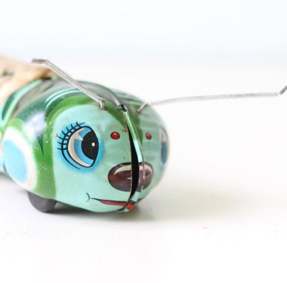Vintage Tin Toy Green Caterpillar