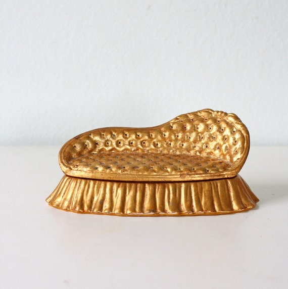 vintage gold ceramic chaise jewelry box by bellalulu on etsy