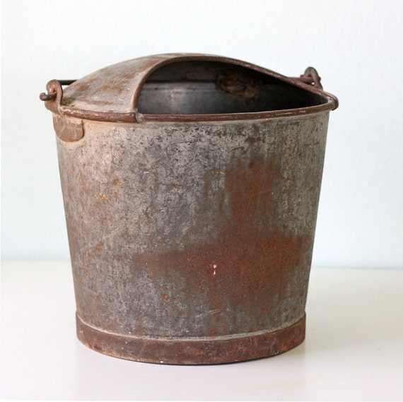 RESERVED Vintage Dairy Galvanized Bucket