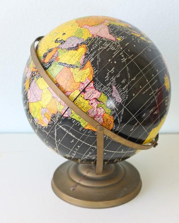 Vintage 12 Cram S Imperial Black Ocean Globe