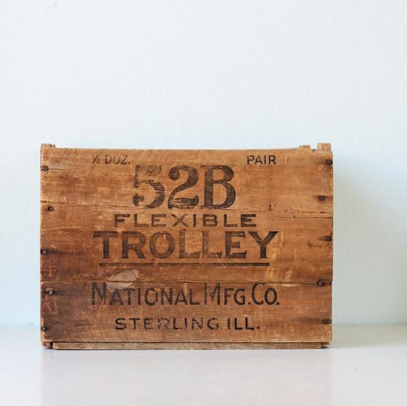 Vintage Wooden Crate - 52B Flexible Trolley