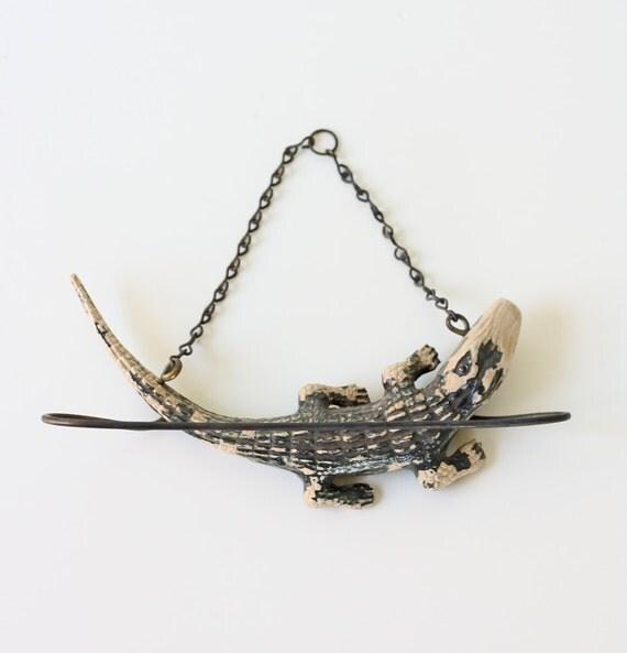 Vintage Alligator Tie Rack