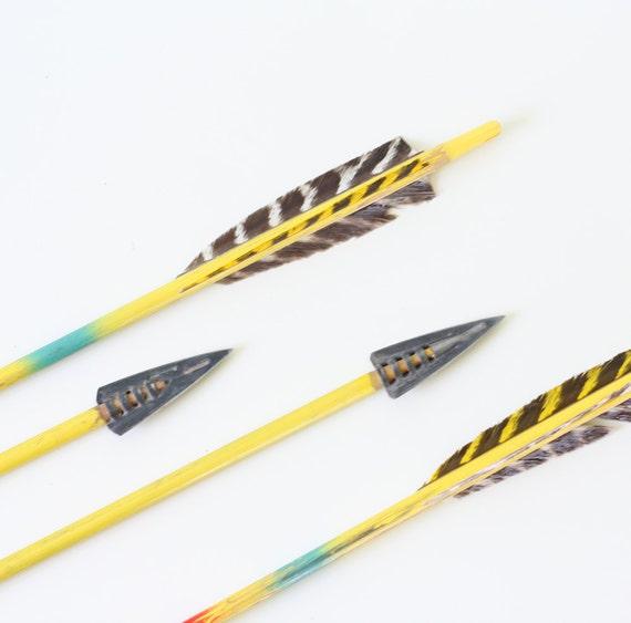 Vintage Wooden Arrows - Colorful Set of 4