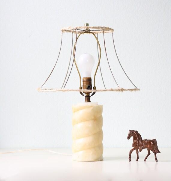 Vintage Alabaster Lamp with Shade Frame