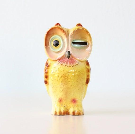 Retro Owl Bank with Winking Eye