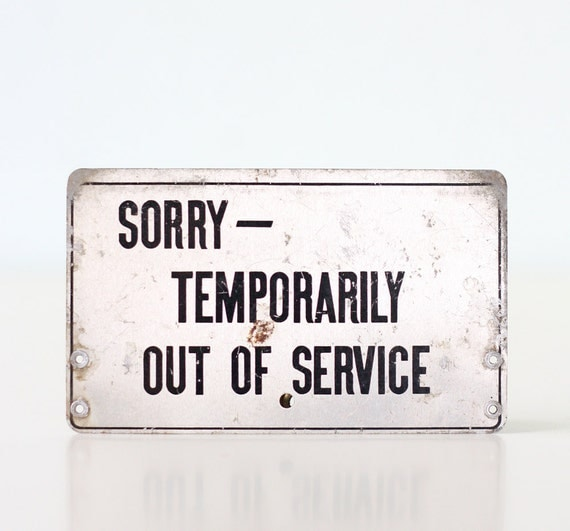 Vintage Bell System Telephone Sign - Out of Service