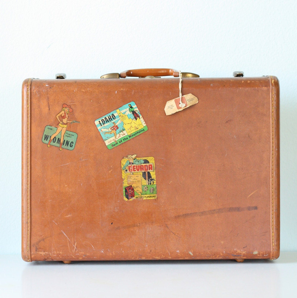 Vintage suitcase with decals - Vintage suitcase ...