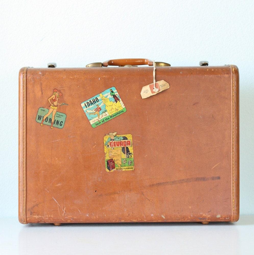 vintage suitcase with decals. Black Bedroom Furniture Sets. Home Design Ideas