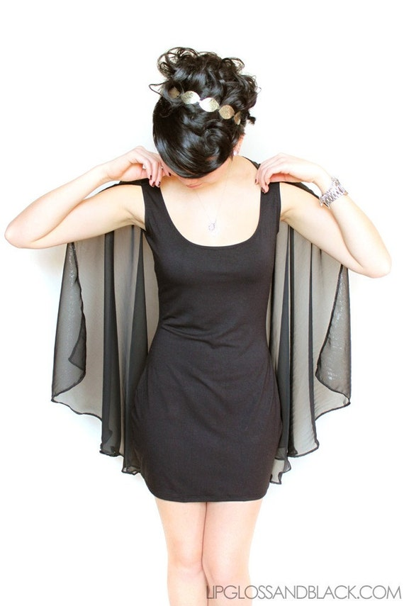 bamboo cape dress - S/M