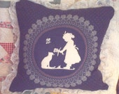 Girl and cat pillow