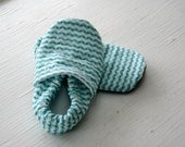baby boy booties Infant toddler girl  shoes non slip Soft Soled gift  Aqua and Brown Squiggly Waves SWAG slippers