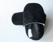 Black Corduroy Baby Booties boy girl toddler slippers shoes soft soled non slip SWAG Black newborn gift