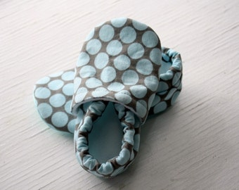 Amy Butler Baby booties toddler Infant Soft Soled Shoe slippers blue aqua and grey gray polka dots gift SWAG