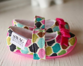maryjane baby girl shoes toddler newborn velcro strap booties pink aqua slippers SWAG shower gift morocco beat ribbon