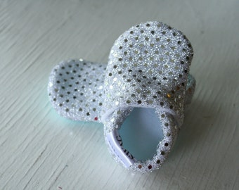 Girl Sequins Shoes Booties Infant Soft Soled Slippers non slip Silver Sparkly Shimmer gift glittery shimmer