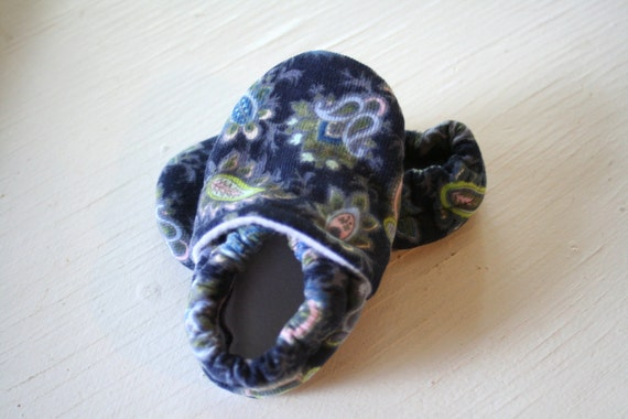 Ready to Ship Baby slippers shoes booties non slip soft soled newborn toddler baby shower gift Navy Blue Paisley Print Corduroy Baby SWAG