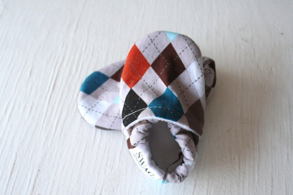 Argyle boy baby booties shoes infant newborn shower gift non slip Soft Soled Shoes grey orange blue baby slippers SWAG