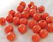 Vintage Orange Red Pinched Glass Beads