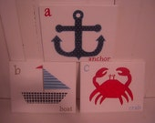 Custom Handpainted Nautical Theme Canvases set of three: anchor, boat, crab