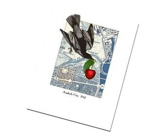 Bird Greeting Card: Collage Original Art Greetings no.3