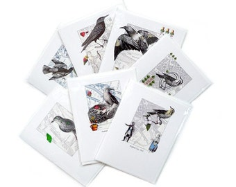 Greeting Cards Set Birds Art Collage Retro Seven Blank