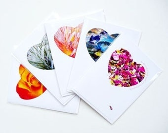 I love You Hand Made Hearts Greeting Cards Set Collection
