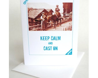 Gift for Knitters Greeting Card Keep Calm ... Handmade