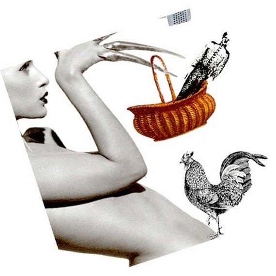 Retro Greeting Card Art Original Edgy Funny Collage Blank The Rooster Calls His Lady Home