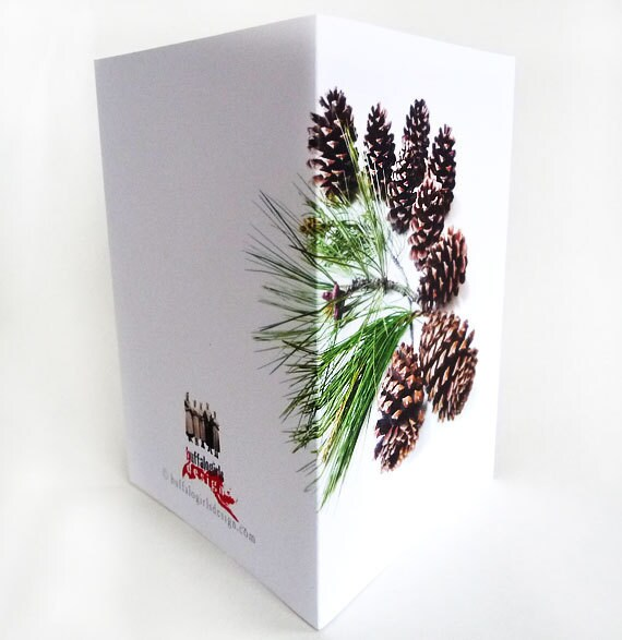 Greeting Cards Set Holiday Pinecones Branches Forest Collection
