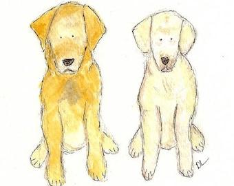 Custom Pet Portrait - 2 pets watercolor 5 X 7
