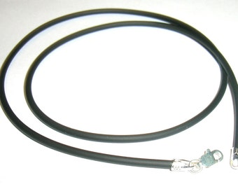 2mm Black rubber cord with sterling silver lobster clasp - 20 inch (50 cm)
