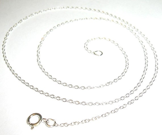 "Sterling silver chain 1.3mm flat cable 16"" or 18"" - Made in USA"