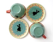 Vintage SILHOUETTE TEA for TWO - Set of 4 Pieces