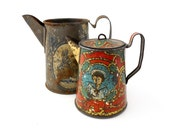 Antique Tin TEAPOTS - Set of 2 Toy Dishes