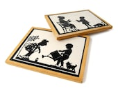 Children Gardening & Winding Wool SILHOUETTES - Set of 2 Vintage Plaques