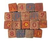 Antique ALPHABET Blocks - Set of 18 Embossed Wooden Blocks