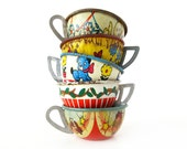 Tin Toy Teacups - INSTANT COLLECTION - Set of 5 Vintage Toy Teacups