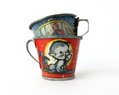 Kitten & Little Red Riding Hood Tin Toy Teacups - Set of 2 Pieces