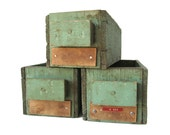 Green Wooden Boxes - Set of 3 Old Wood Drawers