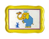 Vintage YELLOW ELEPHANT Tin Tray