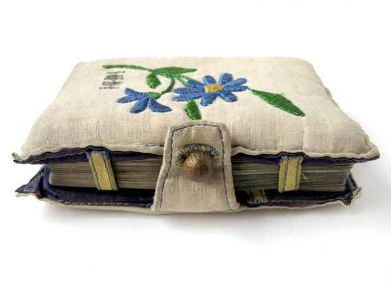 1930's Embroidered BRIDGE Portfolio with Initials WHH